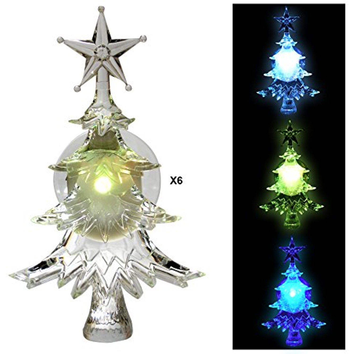 christmas window clings set of 6 suction cup xmas trees led color changing lights battery operated christmas decorations to view further for this - Battery Operated Christmas Window Decorations