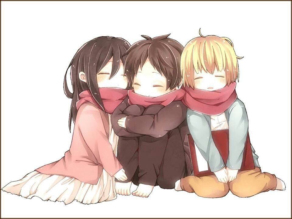 Mikasa Ackerman, Eren Jaeger, and Armin Alrert. (Attack on Titan).
