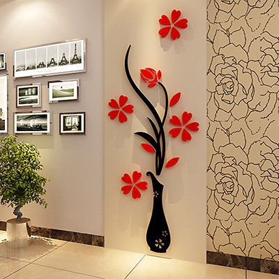 3D Vase Flower Tree Crystal Arcylic Wall Sticker Home Room TV Decor ...
