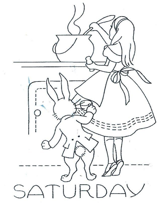 Digital Hand Embroidery Transfer Alice in Wonderland for Days of the ...