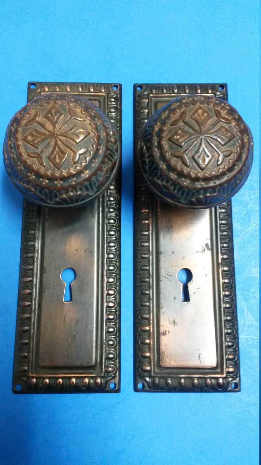 Antique Door Knob Set, Cast Bronze Nashua Knobs with Japanned Door ...