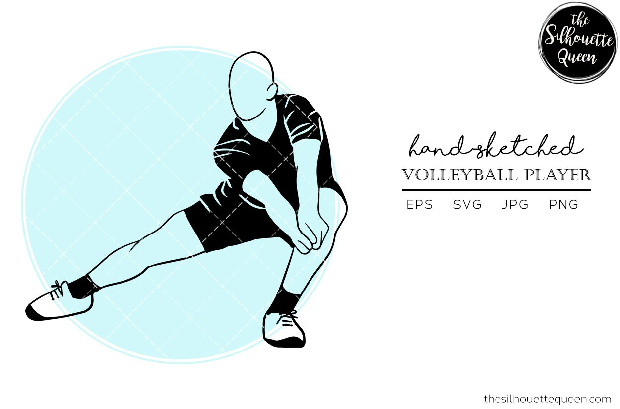 Hand Drawn Male Volleyball Player Vector Graphic By Thesilhouettequeenshop Creative Fabrica In 2020 Vector Sketch Guy Drawing How To Draw Hands