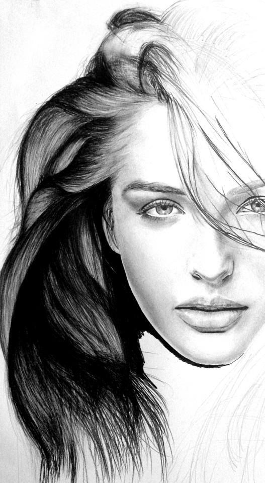 realistic drawings - female faces