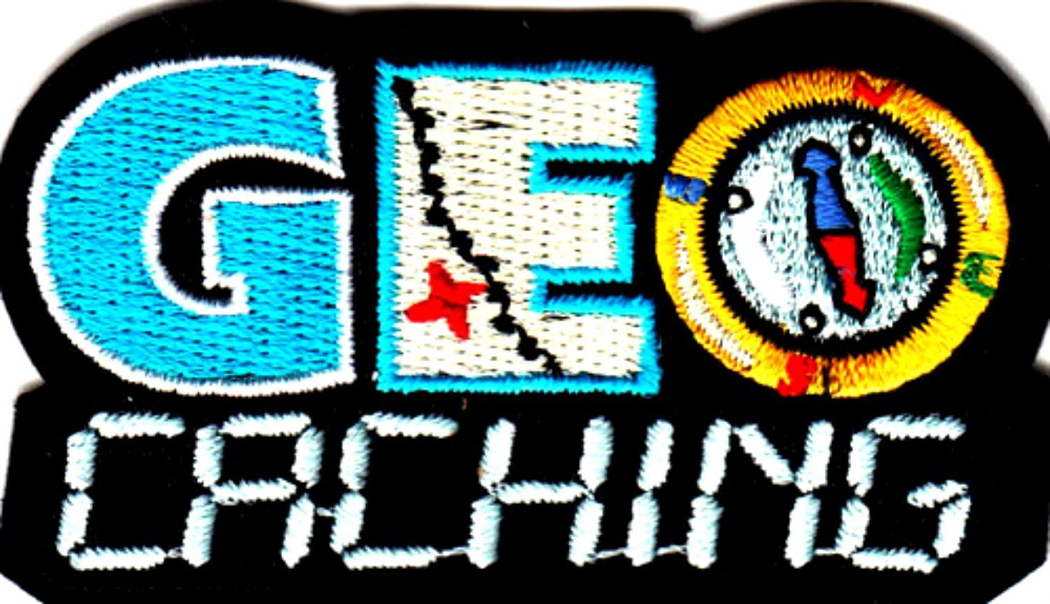 """Amazon.com: [Single Count] Custom and Unique (2 1/2"""" by 1 1/2"""" Inches) Sunny Day Outdoor Activities """"Geo Caching"""" Iron On Embroidered Applique Patch {Black, White, Blue, and Yellow Colors}"""