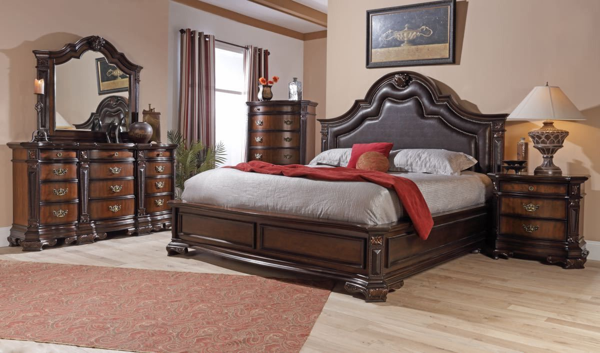 Lifestyle Furniture Bedroom Sets Lifestyle King Mansion Padded Leather Bedroom Set Mansions