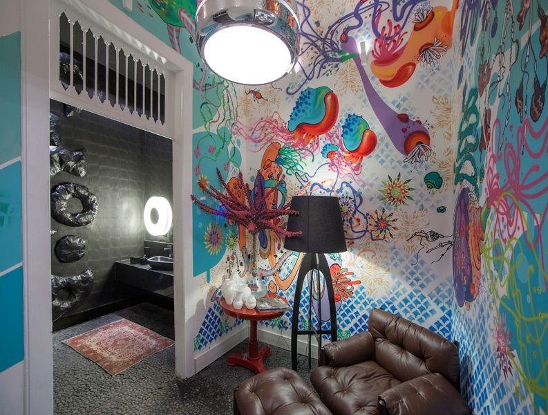 O Hall Foi Totalmente Pintado Pelo Artista Suel Damasceno Os Tons Do Contraste De Forma GrafiteArquitetosTonsEm CasaDecorao