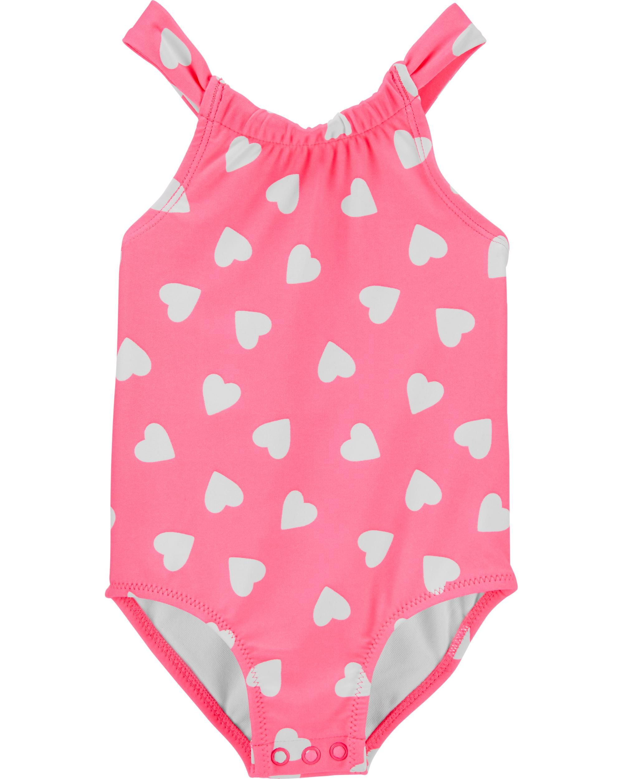 Collager Toddler Kid Girl One Piece Swimwear Baby Swimsuit Heart Cute Bathing Suit 1-7t