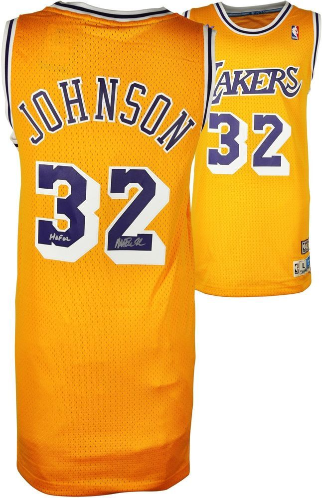 b476d3087 Magic Johnson LA Lakers Signed Gold Jersey w  HOF 02 Insc - Fanatics   sportsmemorabilia  autograph  basketballjersey