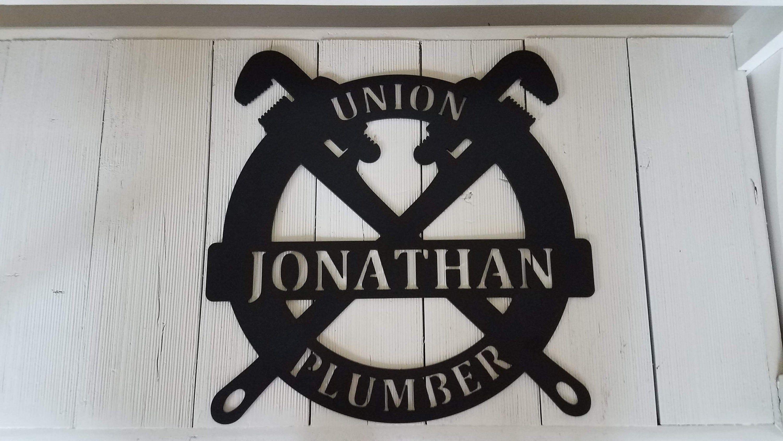 Metal Union Plumber Sign - Custom Made, Current Job or Retirement Gift, Gift for Plumber