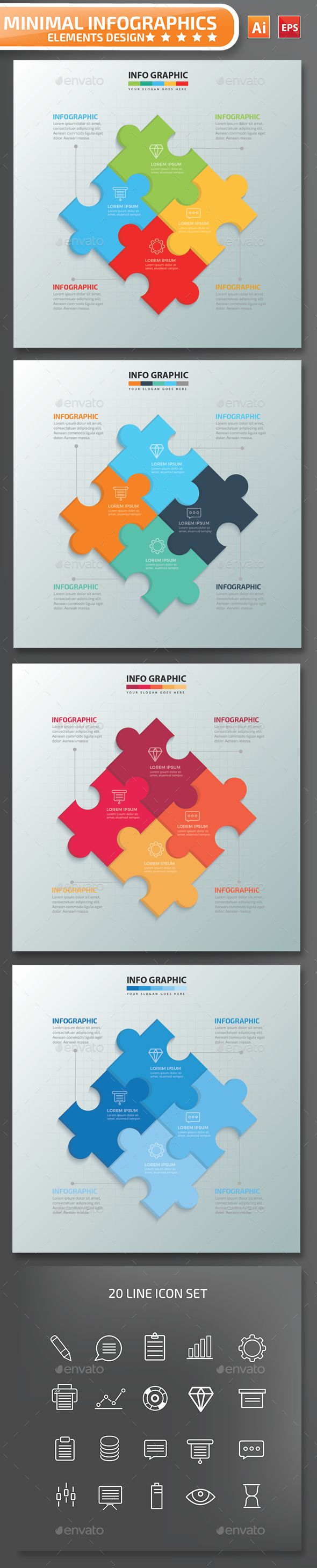 Minimal Puzzle Infographics Design 01 — Vector EPS #eps #step • Available here → https://graphicriver.net/item/minimal-puzzle-infographics-design-01/14324593?ref=pxcr