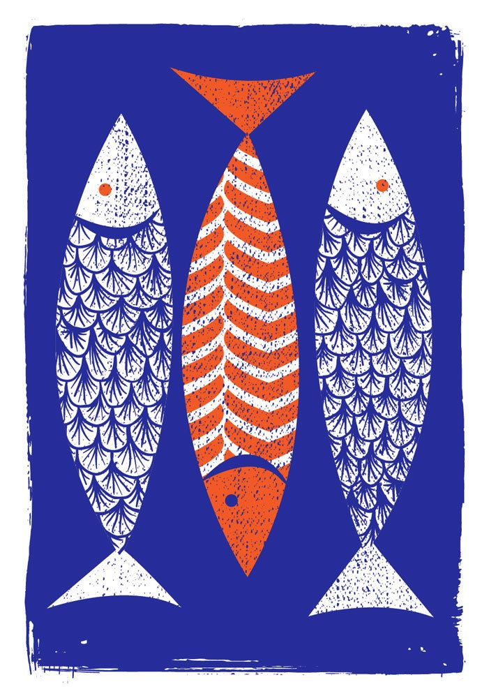 Modern Art Screenprint Scandinavian Style 3 Fish Art Print Etsy Fish Art Screen Printing Art Fish Illustration