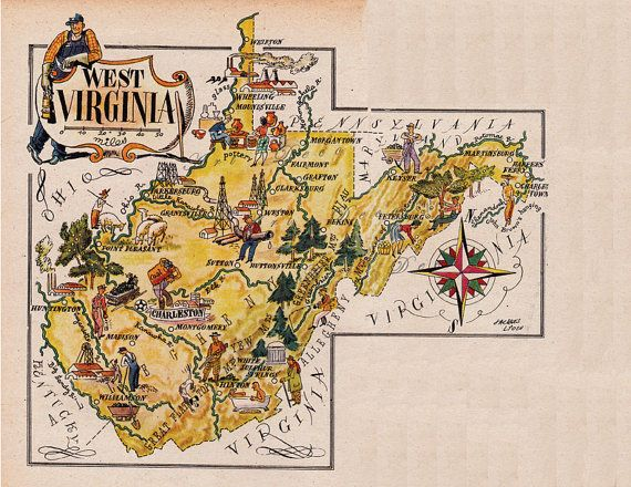 Map Of West Virginia From 1946 By French Artist Jacques Liozu