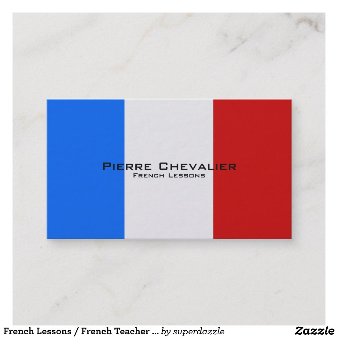 French Lessons French Teacher Flag Of France Business Card