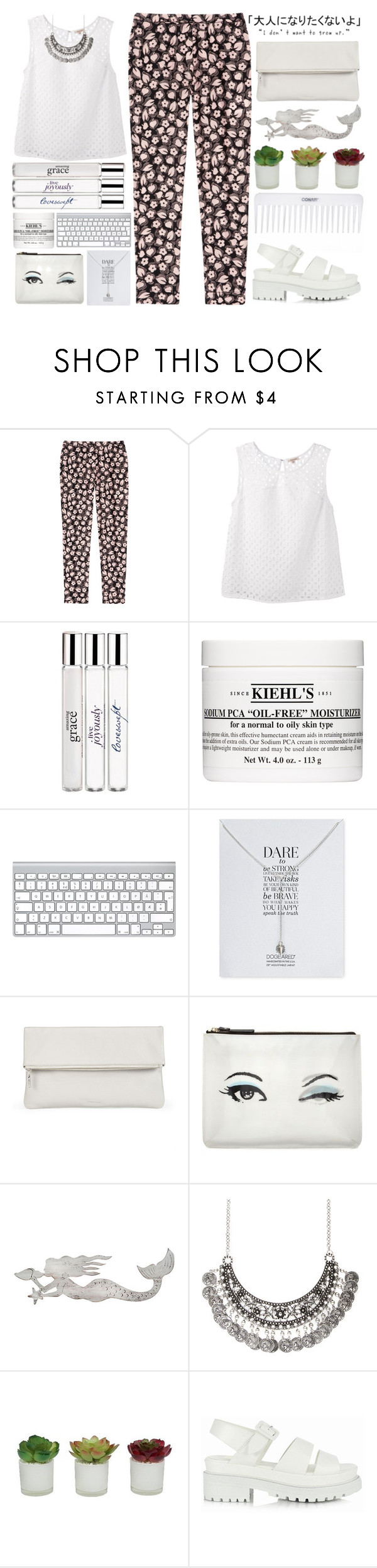 """""""find someone who will change your life, ot just your status."""" by itajansen ❤ liked on Polyvore featuring Nina Ricci, P.A.R.O.S.H., philosophy, Kiehl's, Dogeared, Whistles, Kate Spade, Slippin' Southern, Conair and Threshold"""