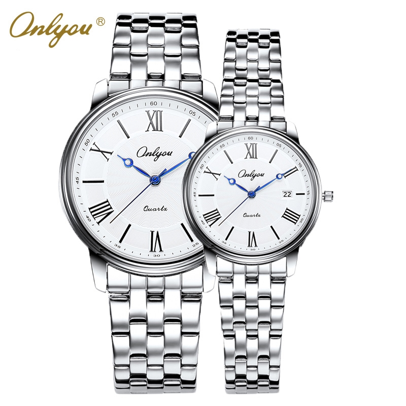 (47.98$)  Buy here - http://aic84.worlditems.win/all/product.php?id=32710761221 - Onlyou Brand Luxury Women Men Watches Quartz Stainless Steel Roman Numerals Wristwatches Relogio Feminino Male Clock Gifts 81053