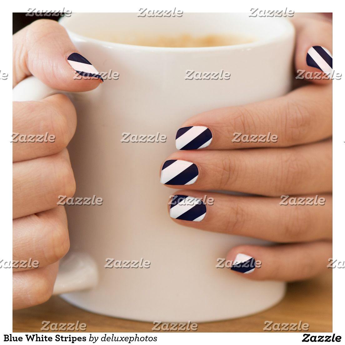 Blue White Stripes Minx Nail Wraps | Zazzle com | Nail nail