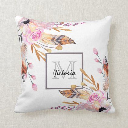 Boho florals feather white pink girly monogrammed throw pillow