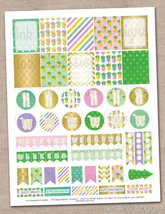 Golden Pineapples Planner Stickers Set Instant Download DIY Printable PDF with Checklists Weekend Banners