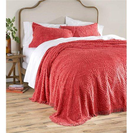 Wedding Ring Chenille Bedspread Queen Red In 2020 Chenille
