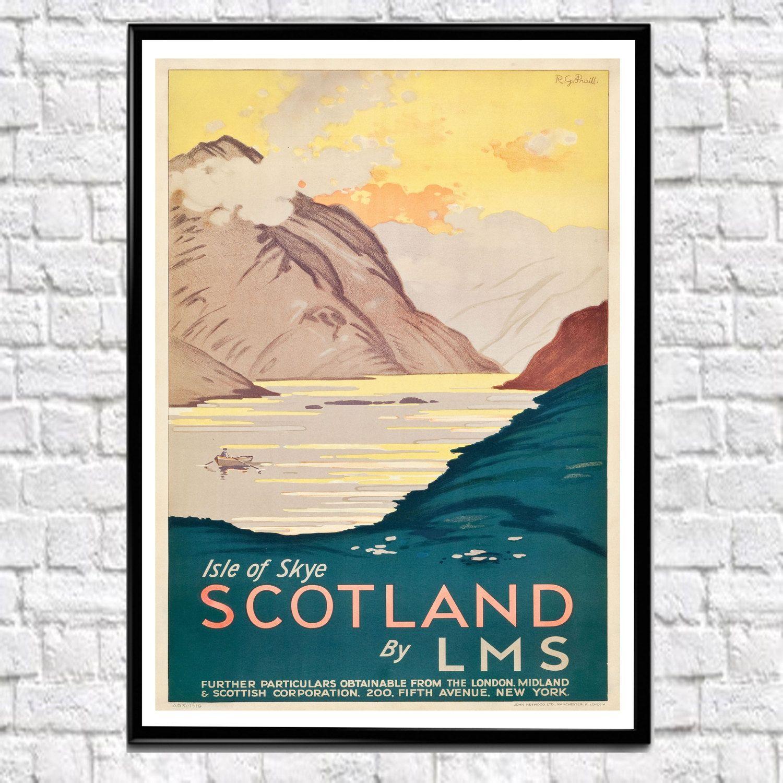Scotland Travel Poster Vintage Scottish Travel Poster Print 1931 Glasgow Poster Edinburgh Poster Glasgo Vintage Travel Posters Travel Posters California Poster
