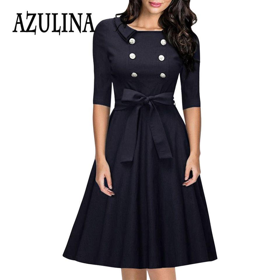 Find More Dresses Information About Azulina Lady Office A Line Dresses New Design Elegant Vestidos Women Fashi Elegant Black Dress Vintage Dresses A Line Dress