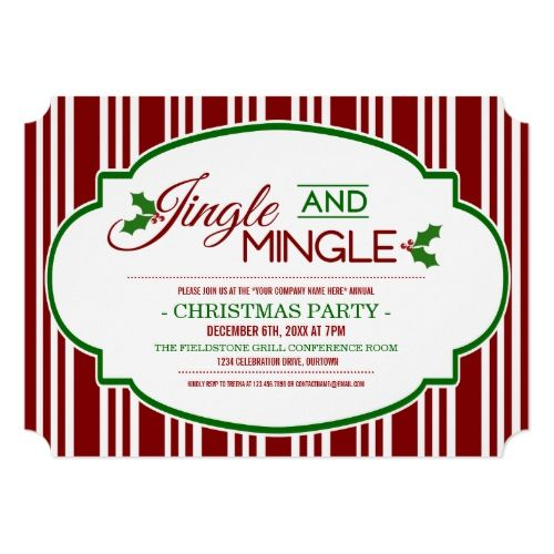 Jingle & Mingle Company Christmas Party Invitation |  Jingle & Mingle Company Christmas Party Invitation
