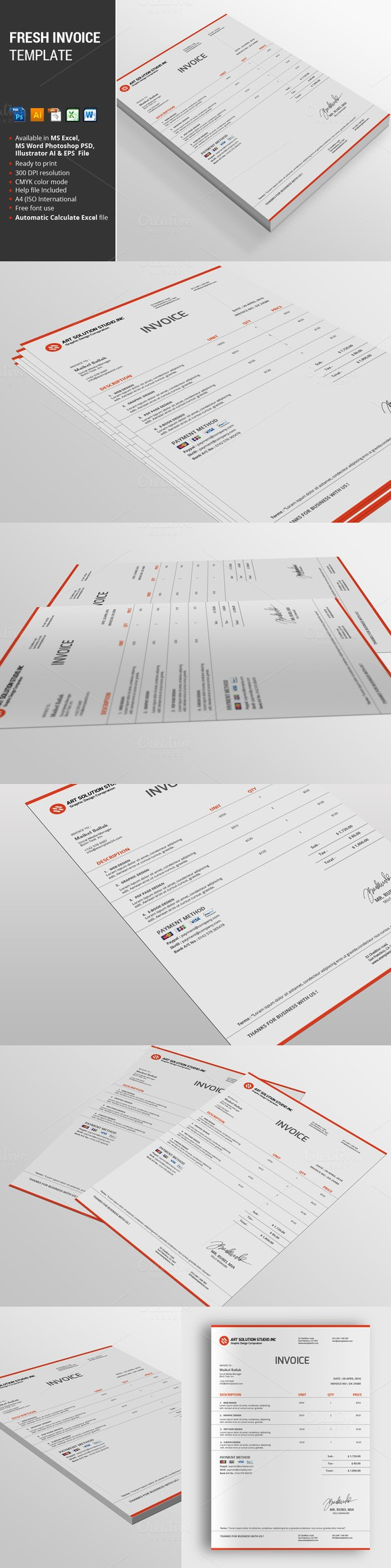 Fresh Invoice Template | Stationery templates, Template and Fonts