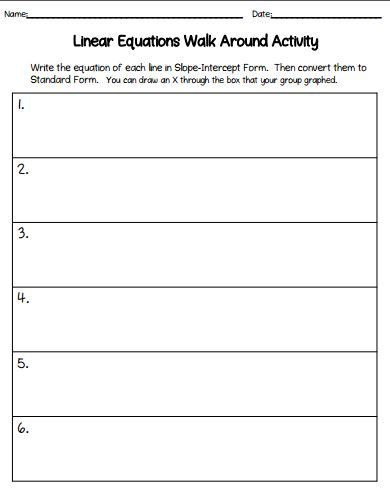 Linear Equations Walk Around Activity Equation Standard Form And