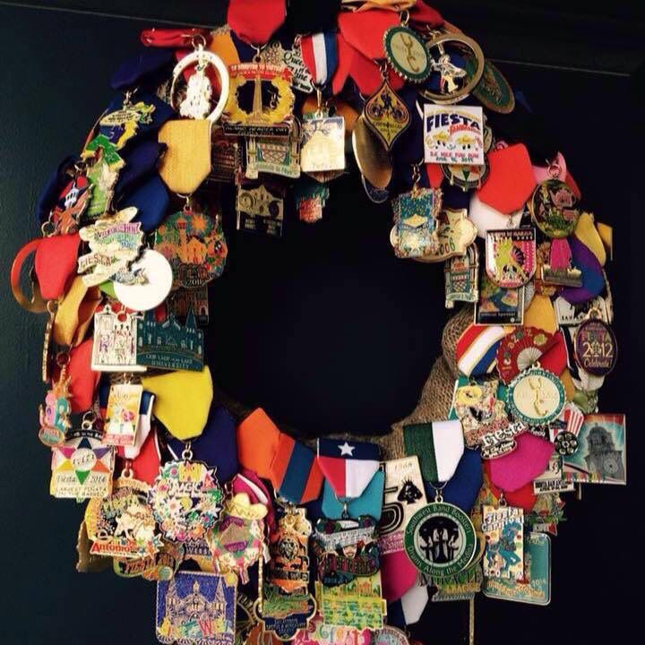 Fiesta medal wreath! Love the idea of having a place for them all.
