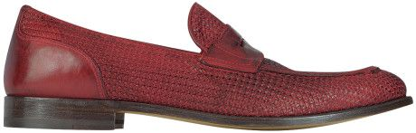Fratelli Rossetti Ruby Red Woven Leather Loafer Shoe in Red for Men