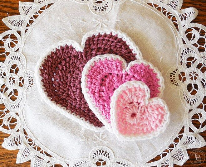 Hearts In 3 Sizes Free Crochet Patterns | Tejido gancho, Textiles y ...