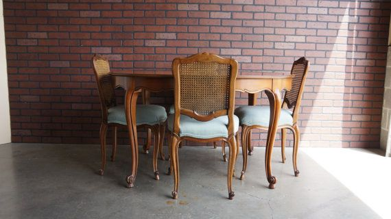 French Provincial Dining Set Cane Back Chairs Country Furniture