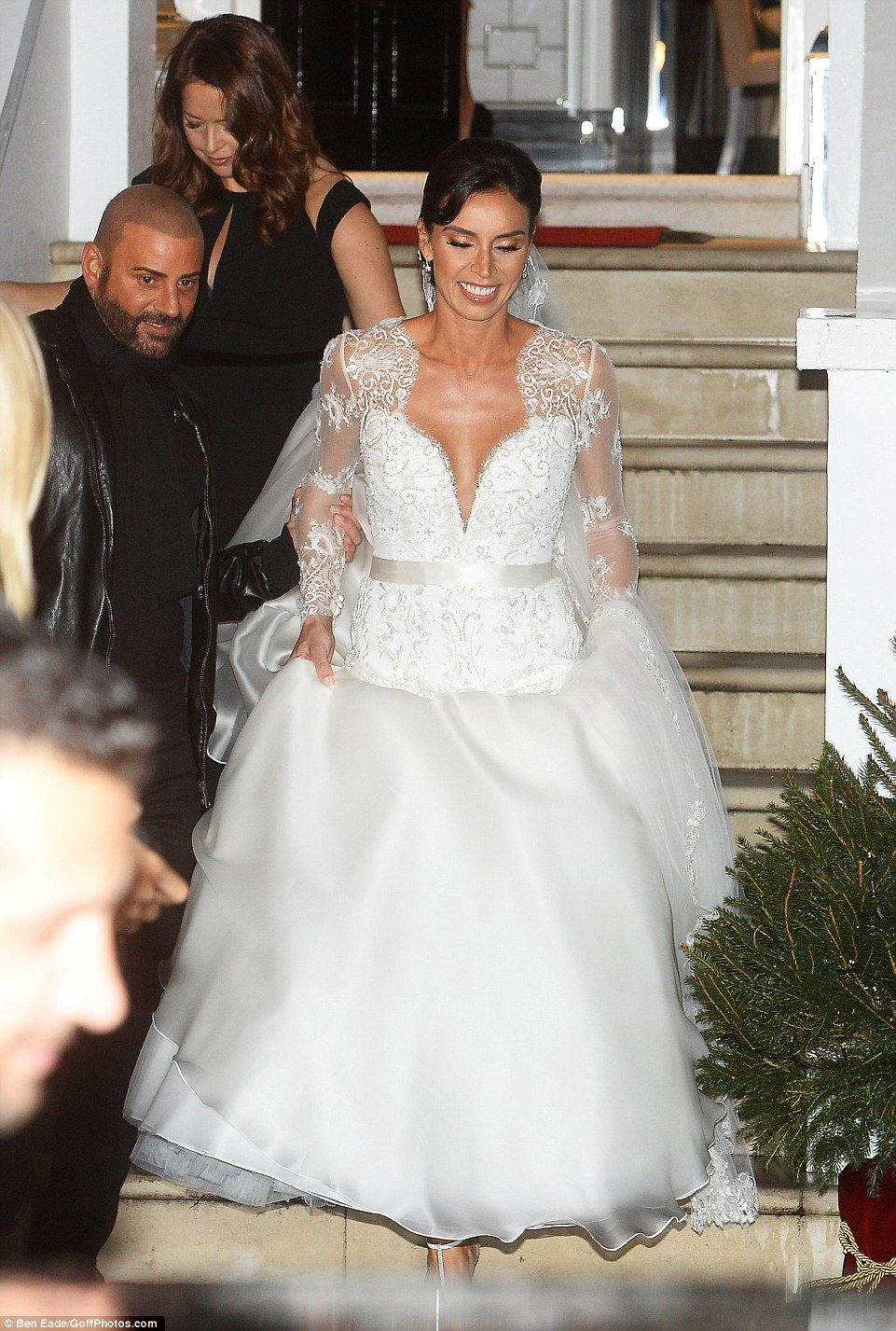 Fashion dress for wedding party  Frank Lampard kisses beautiful bride Christine after the couple