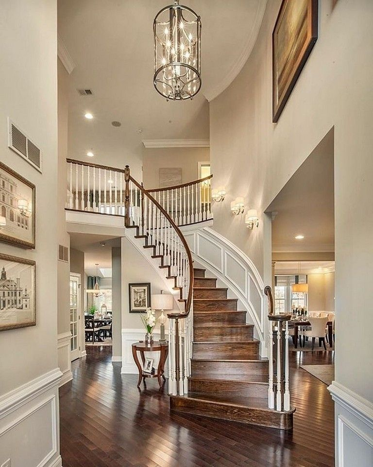 Elegant Foyer Stair Wraps A Paneled Two Story Entry Hall: 50+ Handsome And Cool Warm Decorating Ideas