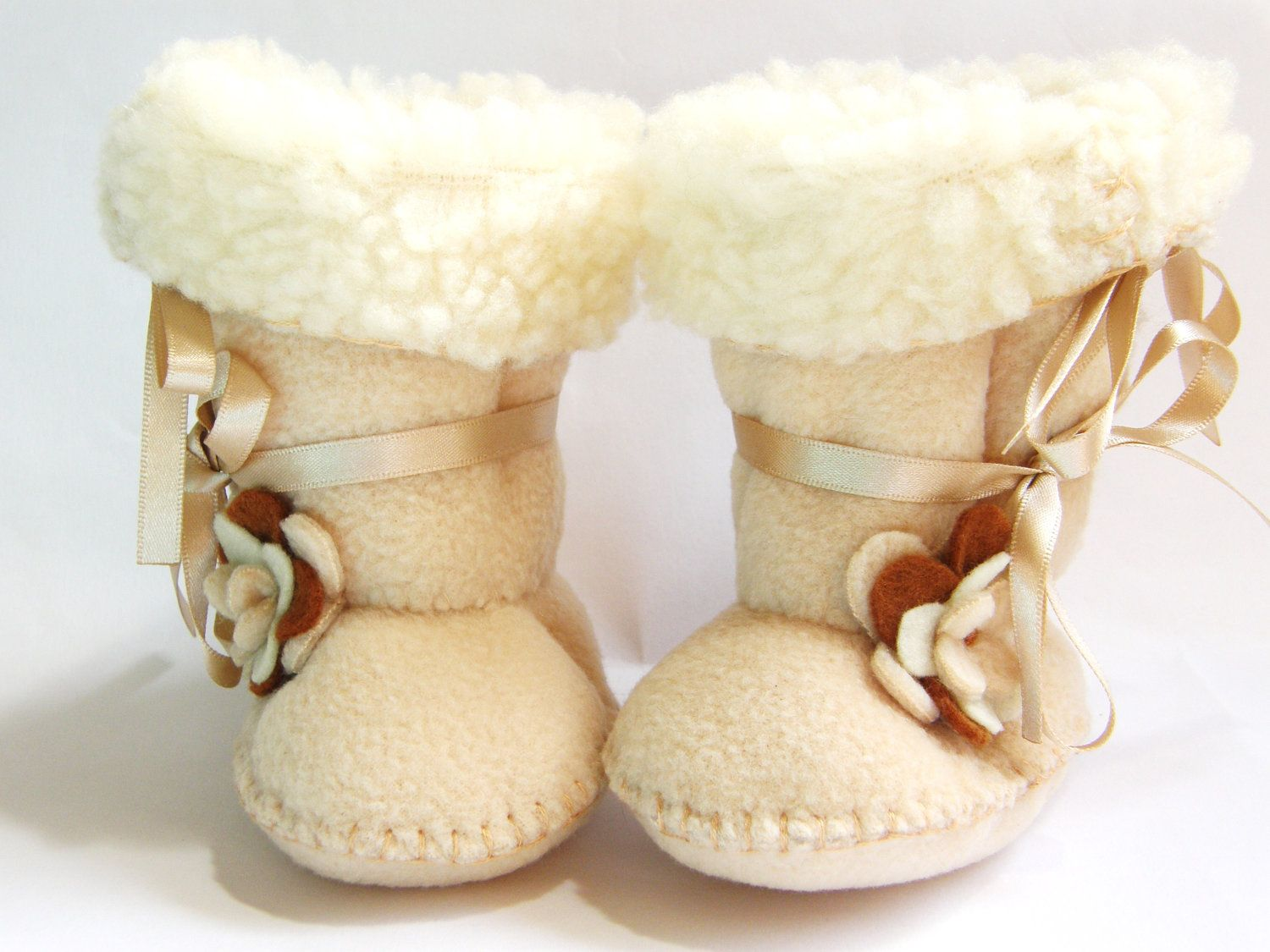 Cafe Latte Baby Boots Ugg Style Fleece Baby Booties with Faux ...