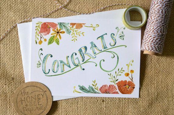 Watercolor Congratulations Card Celebration Card Wedding Card