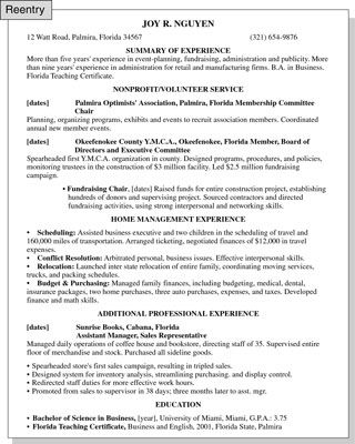 Resume tips for women reentering the workforce this for Sample resume for housewife returning to work