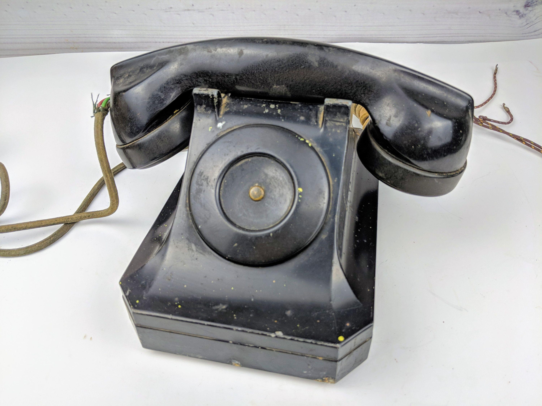 Vintage Stromberg-Carlson Black Old Telephone Model 1244 by