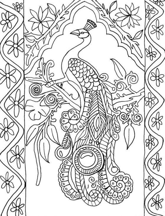 free peacock difficult coloring page for grown ups - Free Difficult Coloring Pages