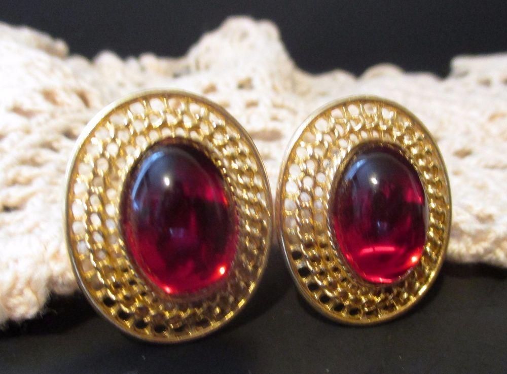 Vintage Red Glass Cabochon Gold Filigree Signed Paolo  #Paolo