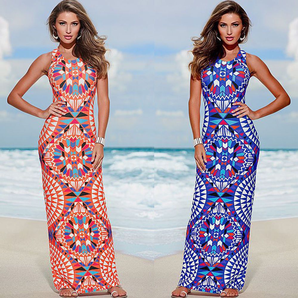 Sexy womens evening party dress boho summer beach long maxi dresses