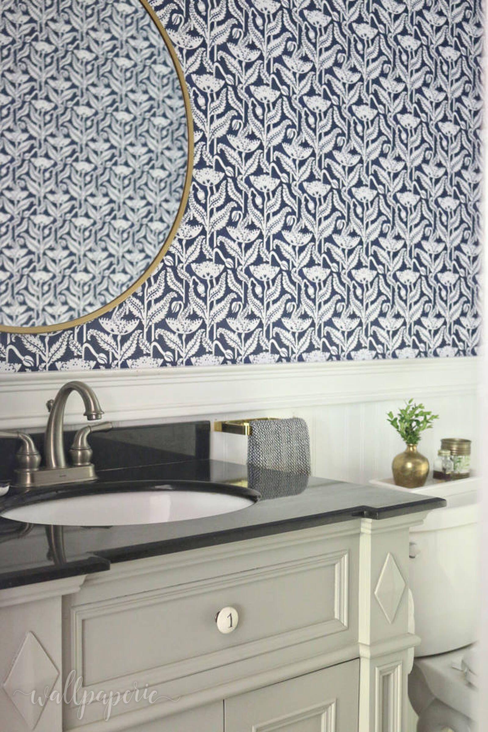 Vintage Poppy Navy Peel N Stick Wallpaper Bathroom Wallpaper Trends Removable Wallpaper