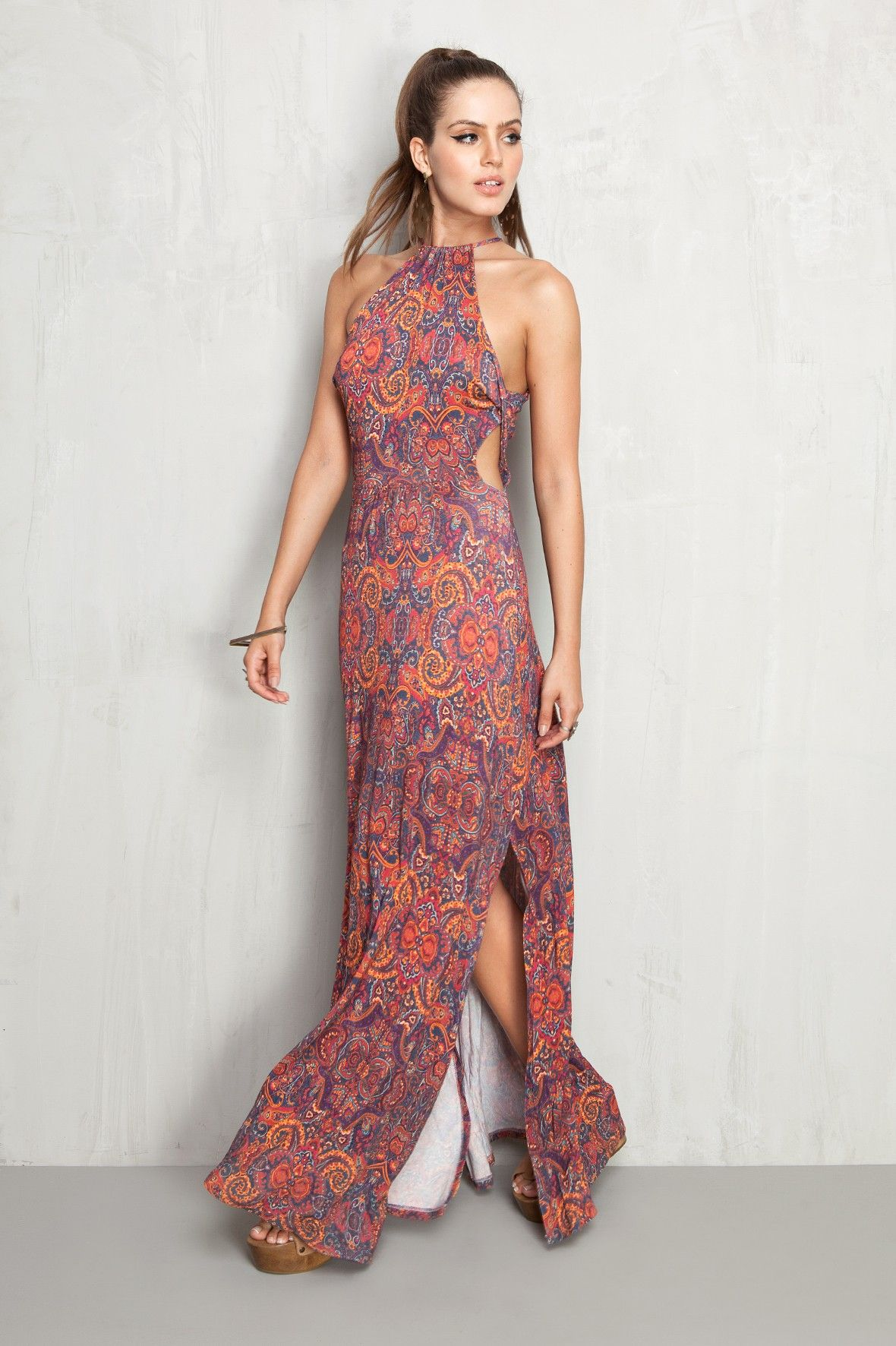 Vestido longo estampado de flores