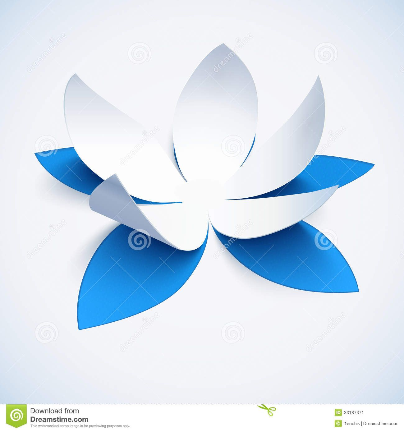Blue Cutout Paper Vector Plower Stock Image Image 33187371