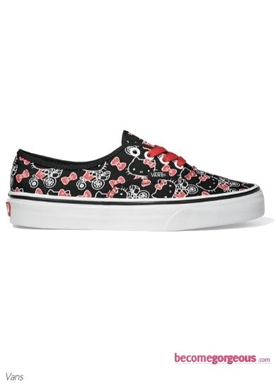 245d6064ee Black and White Hello Kitty Vans Shoes
