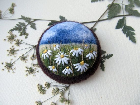 Needle felted brooch Mothers day gift Daisy Needle felted brooch with embroidery…
