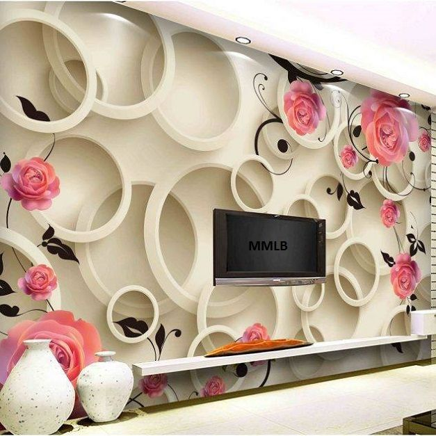 Lcd Tv Cabinet With Beautiful Wallpaper Design Id853 Lcd