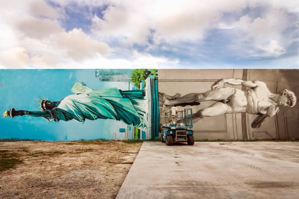 'Lady Liberty and David from Michelangelo sharing the same pedestal'  Miami 2014