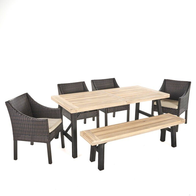 Aranson Outdoor 6 Piece Dining Set With Cushions Wicker Dining Chairs Wicker Dining Set Colored Dining Chairs