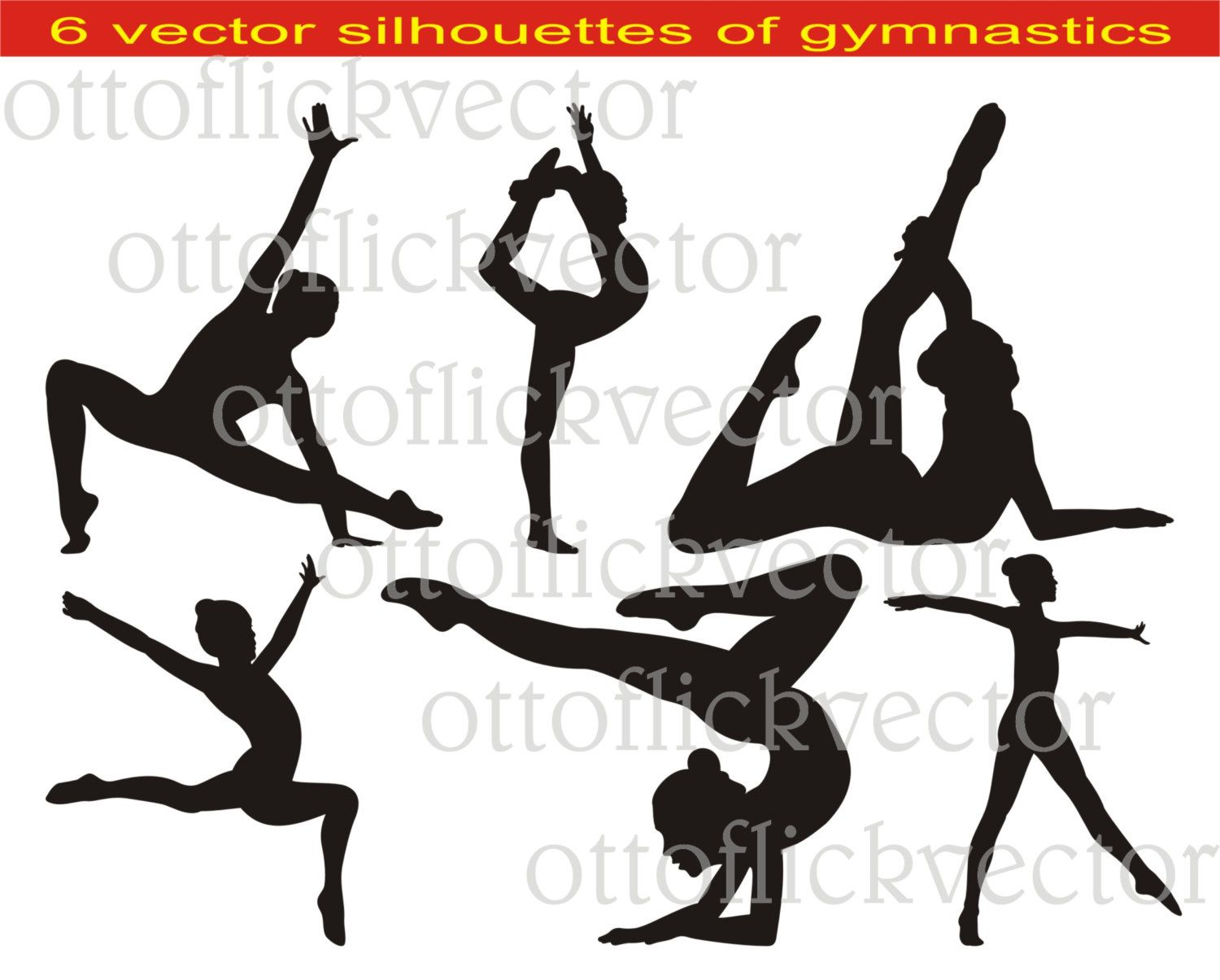 GYMNASTIC SILHOUETTES VECTOR clipart eps, ai, cdr, png, jpg ...